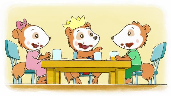 Bobo und seine Freunde essen Geburtstagskuchen. | Rechte: JEP ANIMATION/WDR