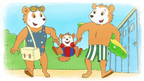 Bobo und seine Eltern gehen ins Freibad. | Rechte: JEP ANIMATION/WDR