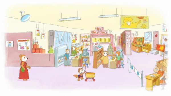 Im Supermarkt hat Bobo kleine Einkaufswagen entdeckt und kurvt damit begeistert durch die Gänge. | Rechte: JEP ANIMATION/WDR