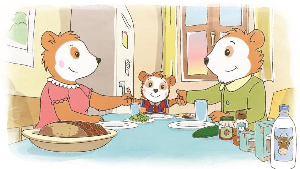 Bobo sitzt mit seinen Eltern am Frühstückstisch. | Rechte: JEP ANIMATION/WDR
