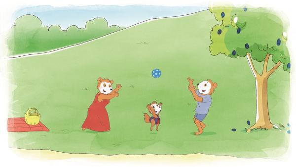 Bobo und seine Eltern spielen mit dem Ball im Park. | Rechte: JEP ANIMATION/WDR