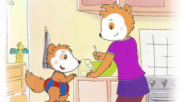Bobos Babysitterin macht leckere Pfannkuchen. | Rechte: JEP ANIMATION/WDR