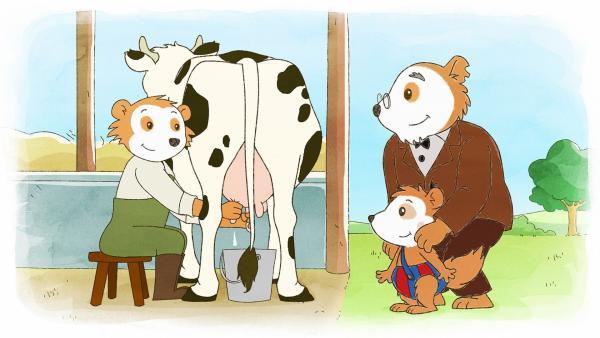 Auf dem Kinderbauernhof sehen Bobo und Opa beim Melken zu. | Rechte: JEP ANIMATION/WDR
