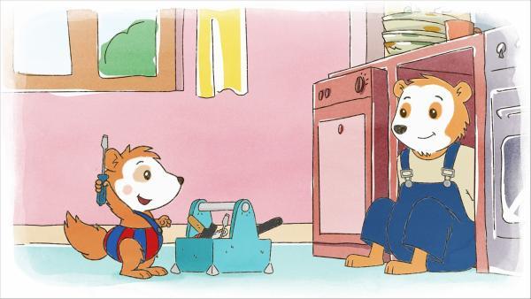 Den blauen Schraubenzieher, bitte! Bobo hilft beim Abbau der Spülmaschine.   Rechte: WDR/JEP ANIMATION