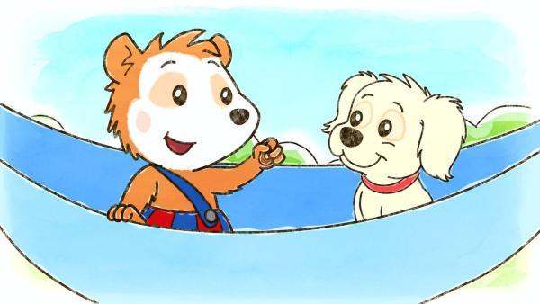 Bobo freundet sich mit Hund Pucki an. | Rechte: WDR/JEP ANIMATION