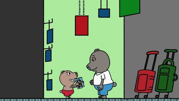 Boris und sein Papa suchen eine neue Schultasche.   Rechte: MDR/Les Films de l'Alequin/Motion Works/FilmVermoegen
