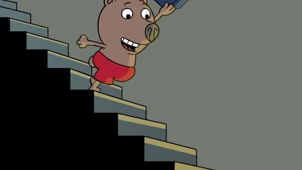 Boris rennt die Treppe hinunter. | Rechte: MDR/Les Films de l'Alequin/Motion Works/FilmVermoegen
