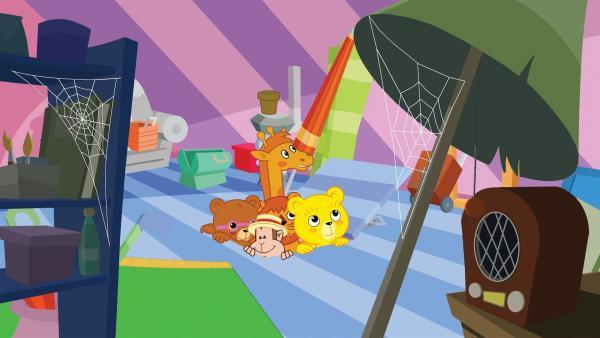 Der kleine Bär Bummi und seine Freunde - die braune Bärin Binchen, das Äffchen Yam Yam, die Giraffe Malia und Eddie, der kleine Löwe, erleben jeden Tag ein neues Abenteuer. | Rechte: KiKA/Studio-88 Werbe- und Trickfilm GmbH