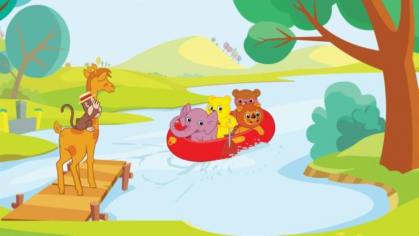 Der kleine Bär Bummi erlebt mit seinen Freunden - der braunen Bärin Binchen, dem Äffchen Yam Yam, der Giraffe Malia, Eddie, dem kleinen Löwen und dem Elefanten Tutu jeden Tag ein aufregendes Abenteuer. | Rechte: KiKA/Studio-88 Werbe- und Trickfilm GmbH