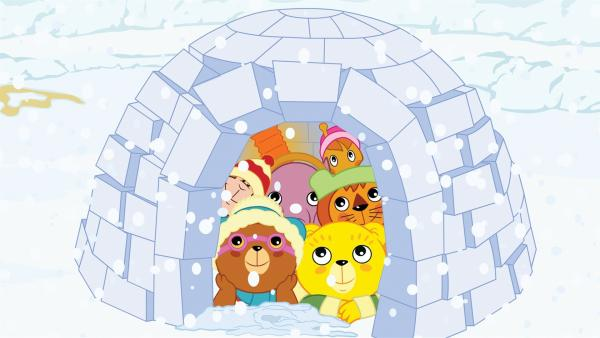 So viel Schnee! Bummi (vorne rechts) und seine Freunde haben es in | Rechte: KiKA/Studio-88 Werbe- und Trickfilm GmbH
