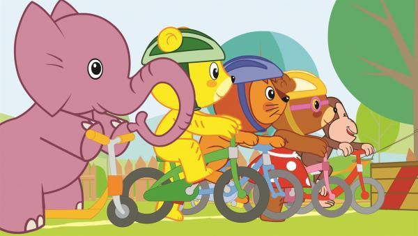 Bummi und seine Freunde haben viel Spaß am gemeinsamen Fahrradfahren | Rechte: KiKA/Studio 88