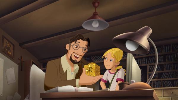 Professor Petersen und seine Tochter Cora bestaunen den Cubus Temporis.   Rechte: KiKA/Cross Media/Beta/Trickompany 2010