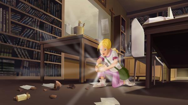 Cora vermisst ihren Vater, Professor Petersen. In seinem Zimmer findet sie nur den Cubus Temporis.   Rechte: KiKA/Cross Media/Beta/Trickompany 2010