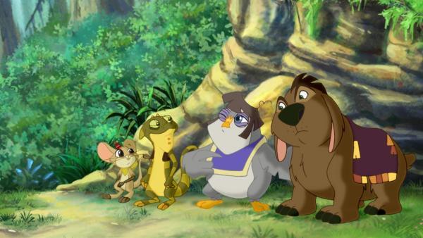 Die Wonderers - das sind v.l. Maxxi, Sammy, Emma und Nick - im Garten Eden. | Rechte: KiKA/Cross Media/Beta/Trickompany 2010