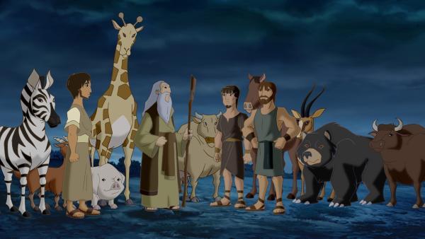 Noah (Mi.) will alle Tiere in Sicherheit bringen. | Rechte: KiKA/Cross Media/Beta/Trickompany 2010