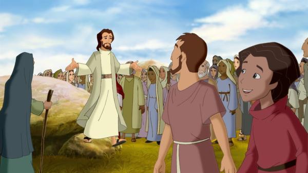 Tausende Menschen kommen herbei, um Jesus (Mi.) predigen zu hören. | Rechte: KiKA/Cross Media/Beta/Trickompany 2010
