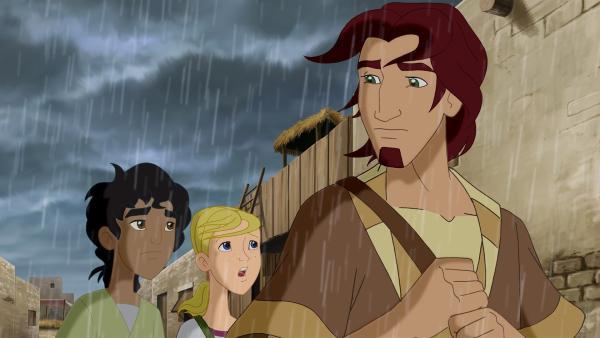 Habib und Cora verfolgen Jona (re.), der eine Überfahrt nach Tarsis sucht. | Rechte: KiKA/Cross Media/Beta/Trickompany 2010