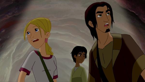Cora, Habib und Jona finden sich im Bauch eines Wals wieder. | Rechte: KiKA/Cross Media/Beta/Trickompany 2010
