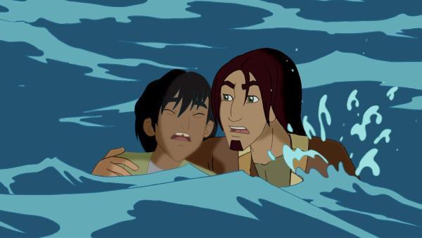 Jona versucht Habib zu retten. Beide sind zusammen mit Cora über Bord gegangen und drohen nun zu ertrinken. | Rechte: KiKA/Cross Media/Beta/Trickompany 2010