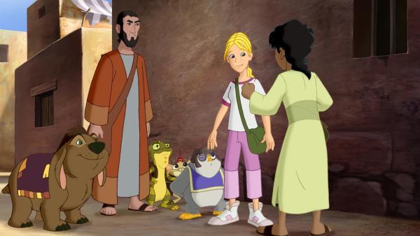 Cora, Habib und die Wonderers kehren nach Jerusalem zurück, wo sie Barabbas wiederbegegnen.   Rechte: KiKA/Cross Media/Beta/Trickompany 2010