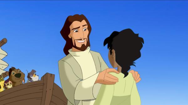 Jesus freut sich, seinen Jugendfreund Habib wiederzusehen. | Rechte: KiKA/Cross Media/Beta/Trickompany 2010