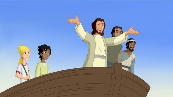 Cora und Habib haben Jesus geholfen, neue Freunde zu finden.   Rechte: KiKA/Cross Media/Beta/Trickompany 2010
