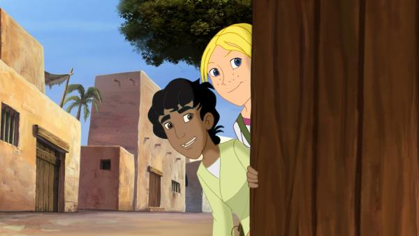 Cora und Habib schauen, was in Jericho los ist. | Rechte: KiKA/Cross Media/Beta/Trickompany 2010