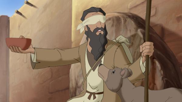 Der blinde Bartimäus hofft auf Heilung durch Jesus. | Rechte: KiKA/Cross Media/Beta/Trickompany 2010