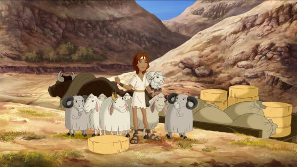 Der Hirtenjunge David und seine Herde.   Rechte: KiKA/Cross Media/Beta/Trickompany 2010