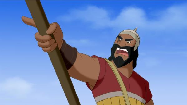 Der Riese Goliath gilt als unbezwingbar.   Rechte: KiKA/Cross Media/Beta/Trickompany 2010