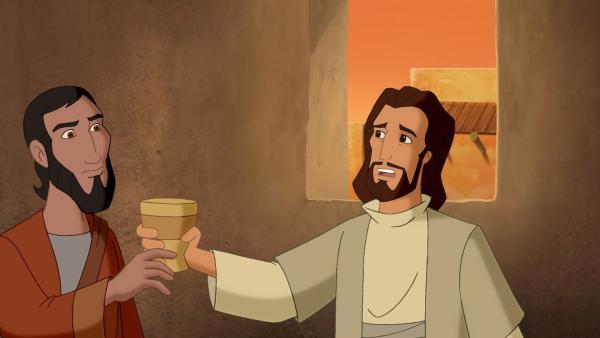Jesus reicht seinem Jünger den Rotweinkelch zum letzten Abendmahl. | Rechte: KiKA/Cross Media/Beta/Trickompany 2010