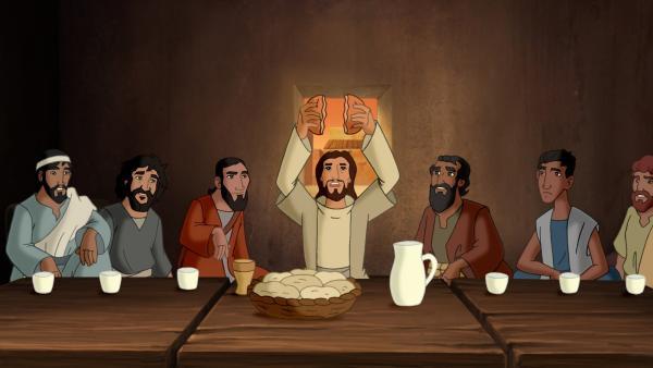 Jesus bricht das Brot für das letzte Abendmahl mit seinen Jüngern. | Rechte: KiKA/Cross Media/Beta/Trickompany 2010