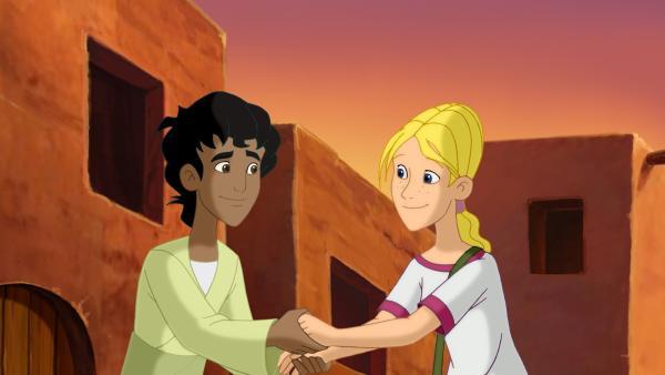 Cora und Habib freuen sich, dass sie die Bibelgeschichte gerettet haben. | Rechte: KiKA/Cross Media/Beta/Trickompany 2010