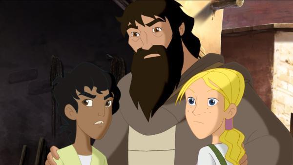 Cora, Habib und Barabbas (Mi.) beobachten, wie Jesus Jünger von römischen Soldaten umzingelt werden. | Rechte: KiKA/Cross Media/Beta/Trickompany 2010