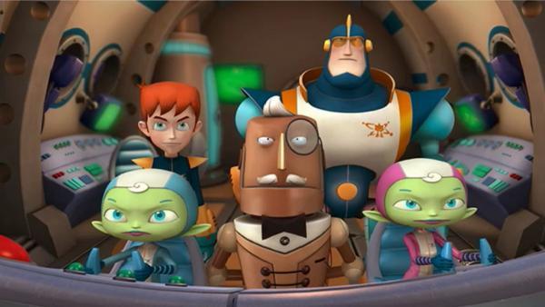Das Team QUANTUM: Robbie, Ray, Buckingham und die Zwillinge A-Te und G-Ce im Raumschiff | Rechte: KiKA/Taffy Productions LLC