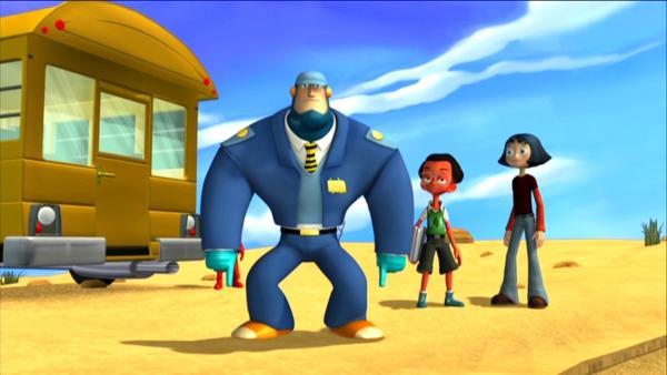 Ray als Busfahrer - Mit dem neu angebauten Raketenantrieb kommen Ray und die Kinder (Allison und Lucas) schneller voran. | Rechte: KiKA/HR/Taffy Productions LLC