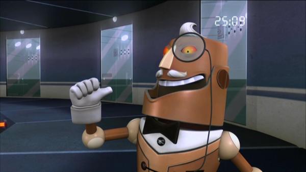 Roboter Buckingham hat einen Quanten-Molekularwandler erfunden, mit dem er alles und jeden in Computerdaten umwandeln und auf CD brennen kann. | Rechte: KiKA/HR/Taffy Productions LLC