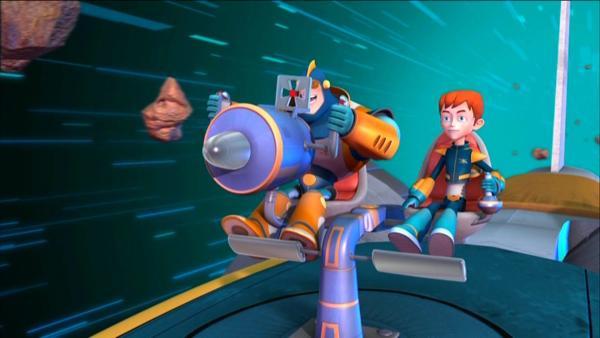 Ray und Robbie haben alle Hände voll zu tun, um die Erde vor der Zerstörung zu bewahren.   Rechte: KiKA/HR/Taffy Productions LLC