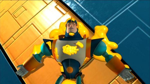 Team Quantum wird von einem Amok laufendem Käse angegriffen. | Rechte: KiKA/HR/Taffy Productions LLC