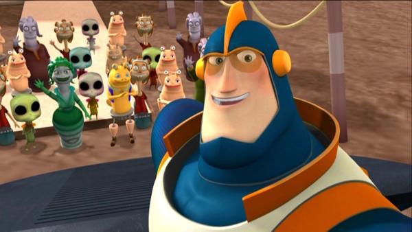 Ray ist furchtbar aufgeregt. Er soll vor den Splorkianern eine Dankesrede auf seinen Vater Cosmic Quantum Ray Senior halten. | Rechte: KiKA/HR/Taffy Productions LLC