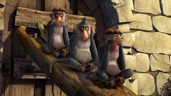 Die Affenbande sieht, hört und sagt nichts. | Rechte: ZDF/DQ Entertainment