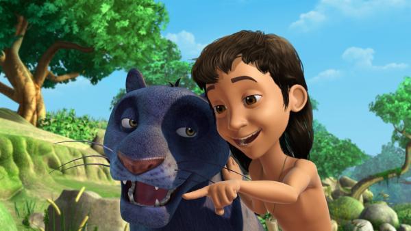 Mowgli (re.) und Baghira (li.) sind beste Freunde. | Rechte: ZDF/DQ Entertainment