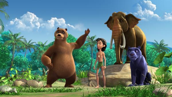Mogli, Balu und Baghira sind entsetzt, denn Hathi, dem alten Elefant, fällt der Sonnentanz nicht mehr ein. Wenn der nicht rechtzeitig getanzt wird, taucht womöglich die Sonne nach der Verfinsterung nicht mehr auf! | Rechte: ZDF/DQ Entertainment