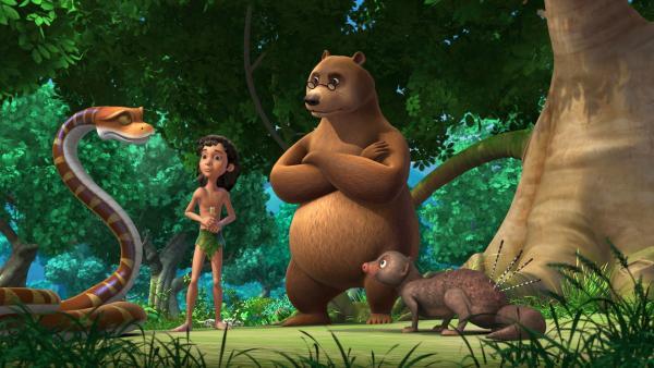 Mogli (Mi.) und Kaa (li.) suchen Hilfe bei Balu (re.) - der Bär kennt sich gut mit den Heilmitteln des Dschungels aus. Er hat einen Tipp gegen den Schluckauf: Es gibt eine Blume, die hilft. | Rechte: ZDF/DQ Entertainment