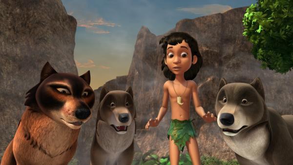 Phaona, Daruka Mogli und Bala (v.l.n r.) sind besorgt um Akela, den Anführer des Wolfsrudels. Akela ist schwer krank. | Rechte: ZDF/DQ Entertainment
