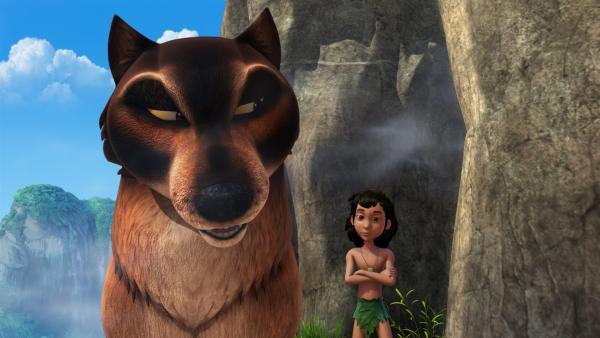 Der hinterlistige Wolf Phaona will Mogli und die anderen Wölfe auf dem Weg zum Tempel der Wölfe loswerden. Phaona möchte der neue Anführer des Rudels werden. | Rechte: ZDF/DQ Entertainment