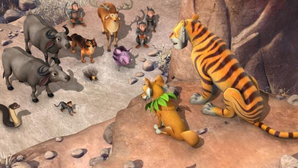 Shir Khan (r.) hält sich durch den Bernstein für unbesiegbar. Er befiehlt den anderen Tieren, den Menschenjungen Mogli zu ihm zu bringen. | Rechte: ZDF/DQ Entertainment