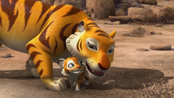 Die Tigermutter ist krank und schwach. Sie kann sich nicht genügend um Chota, ihr Junges, kümmern. Mogli soll kommen und aufpassen.   Rechte: ZDF/DQ Entertainment