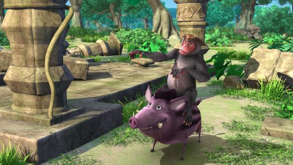 Mascha will Rana, dem Wildschwein, helfen. Zusammen wollen sie es dem Mogli heimzahlen, denn der hat sich über Rana lustig gemacht. | Rechte: ZDF/DQ Entertainment