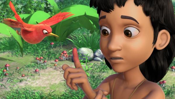 In einer weiteren Dschungelaufgabe soll Mogli (r.) nach einer stinkigen Quelle suchen, die seinen juckenden Finger heilen kann. Darsi (l.) will ihn begleiten, ohne Tipps zu geben. | Rechte: ZDF/DQ Entertainment